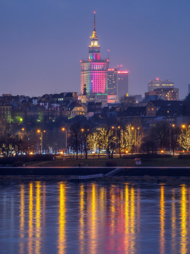 Warsaw by night.